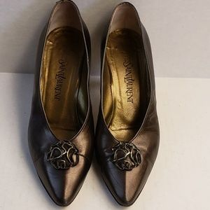 Yves St. Laurent Bronze Leather Pointed Toe Heels